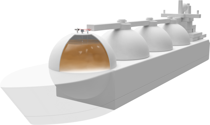 Illustration of a tank ship with measurement technology