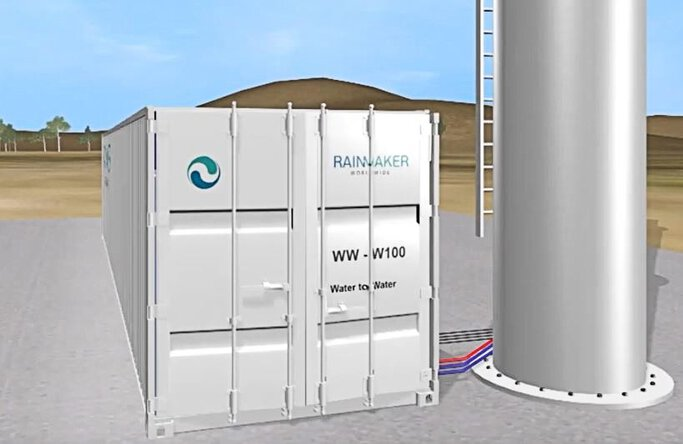 Rainmaker's W2W unit uses renewable energy generated by a wind turbine