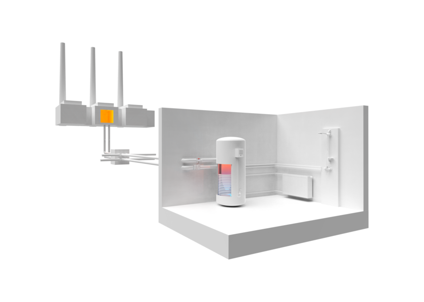 District heating distribution station and house connection